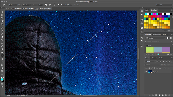 Photoshop pen tool in use