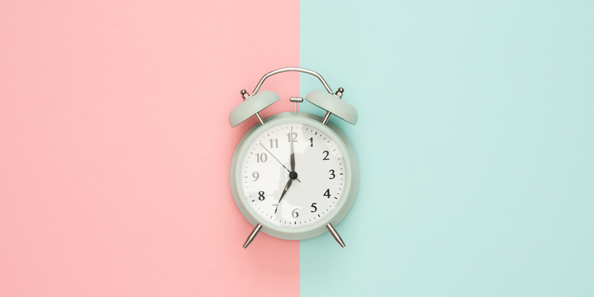 Clock on two-tone backdrop