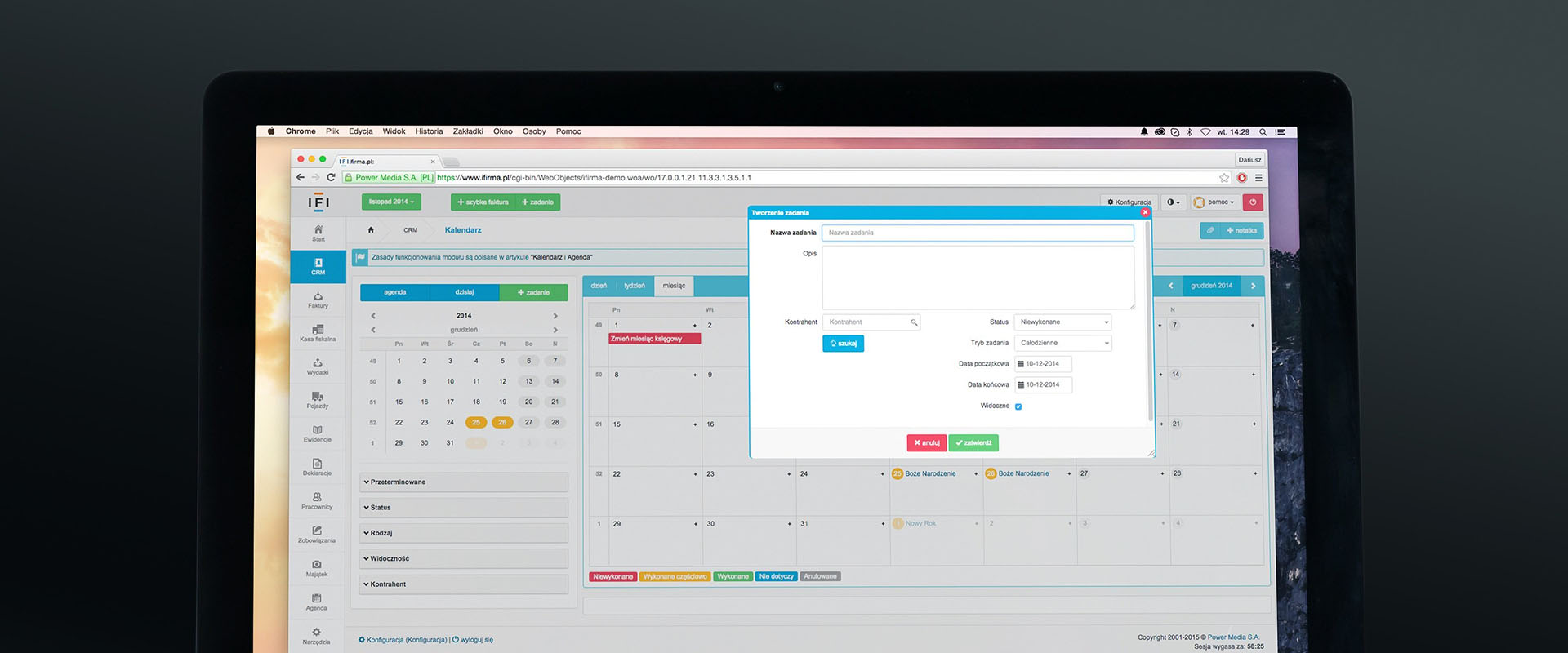 Example of a CRM system