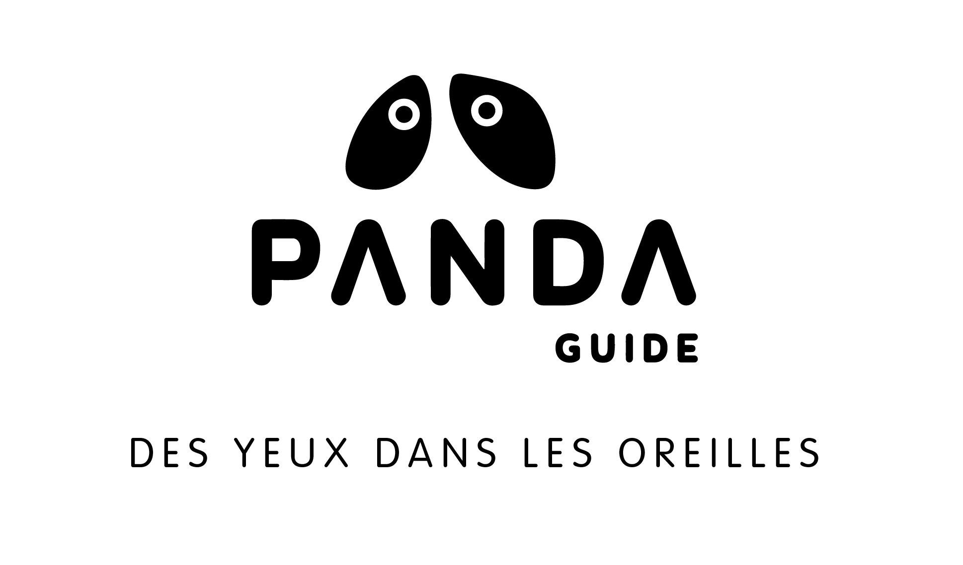 """Logo de PANDA Guide avec la phrase  """"des yeux dans les oreilles"""""""