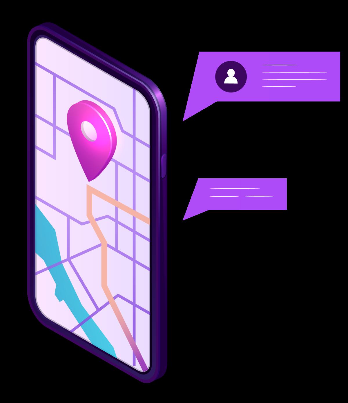 Illustration d'un téléphone servant de GPS