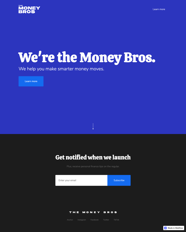 Money Bros Landing Page