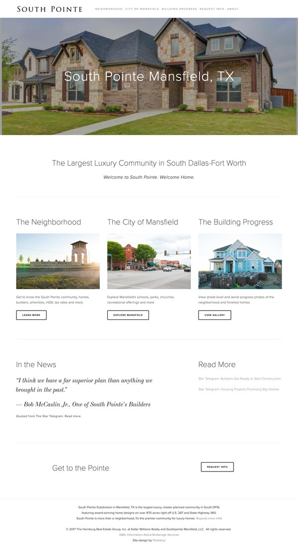 South Point Mansfield Website Mock