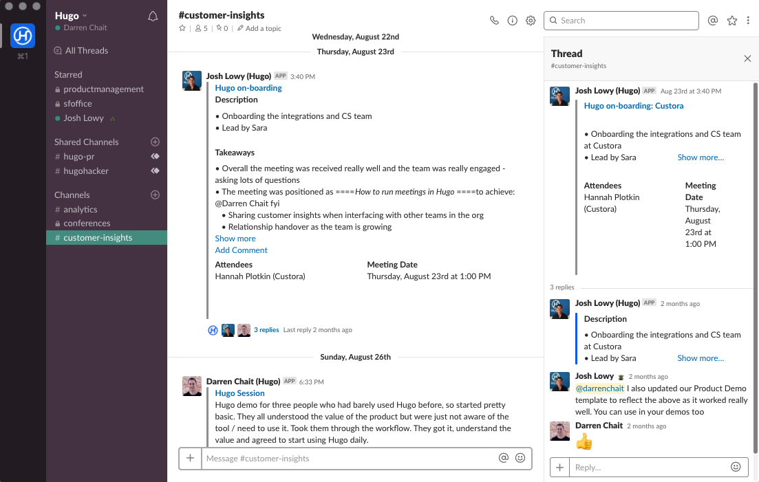 Share meeting notes via Slack