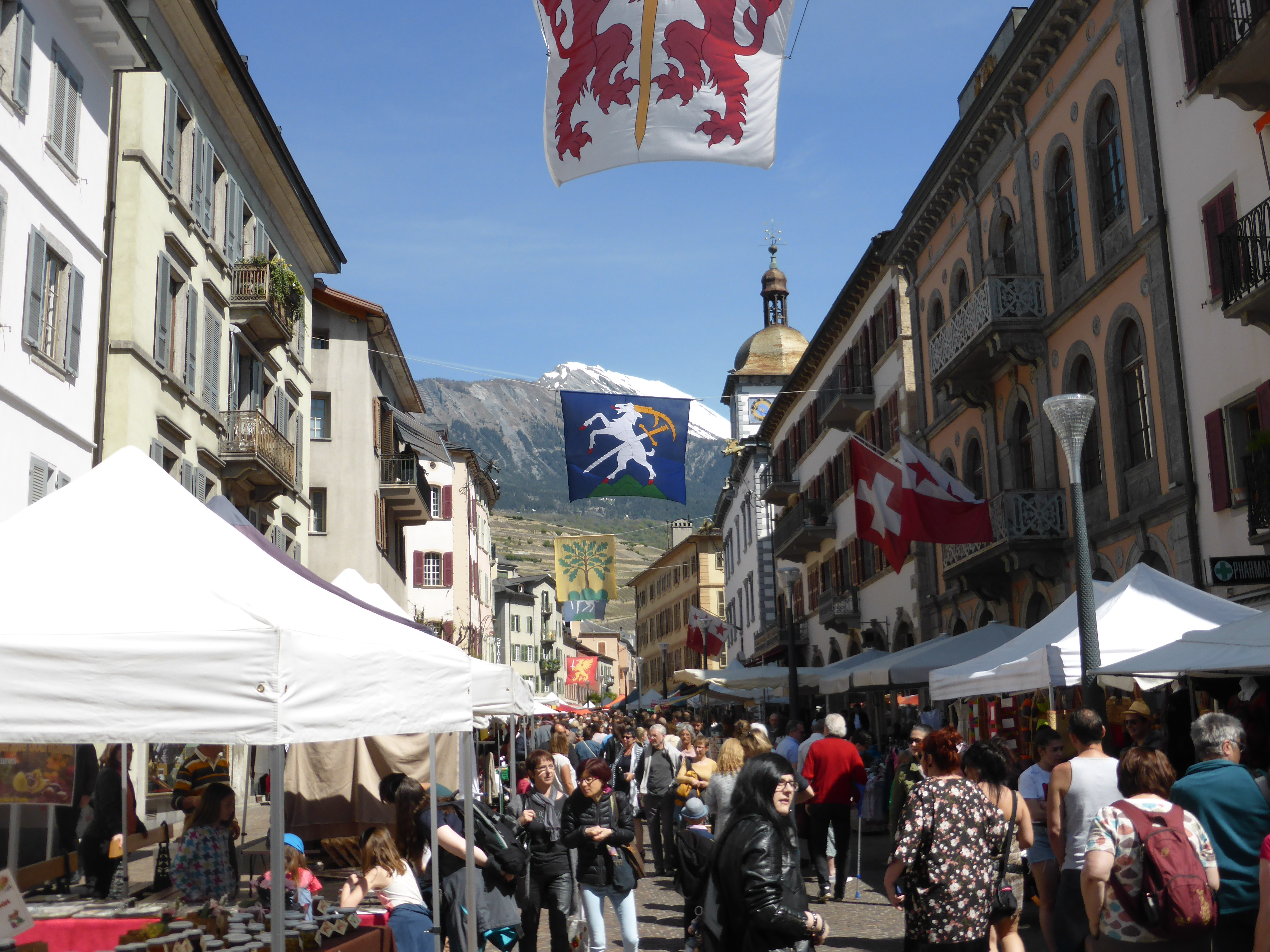 Friday Farmer's Market in Sion, Valais