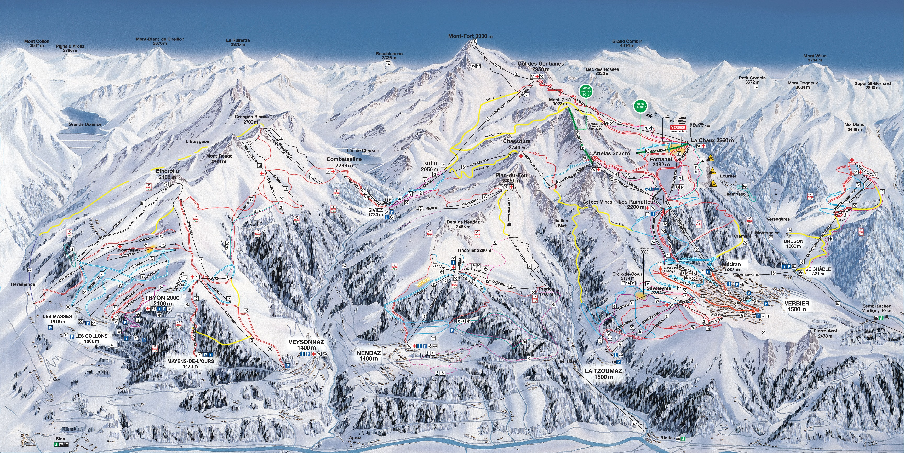 map of les 4 vallées ski area