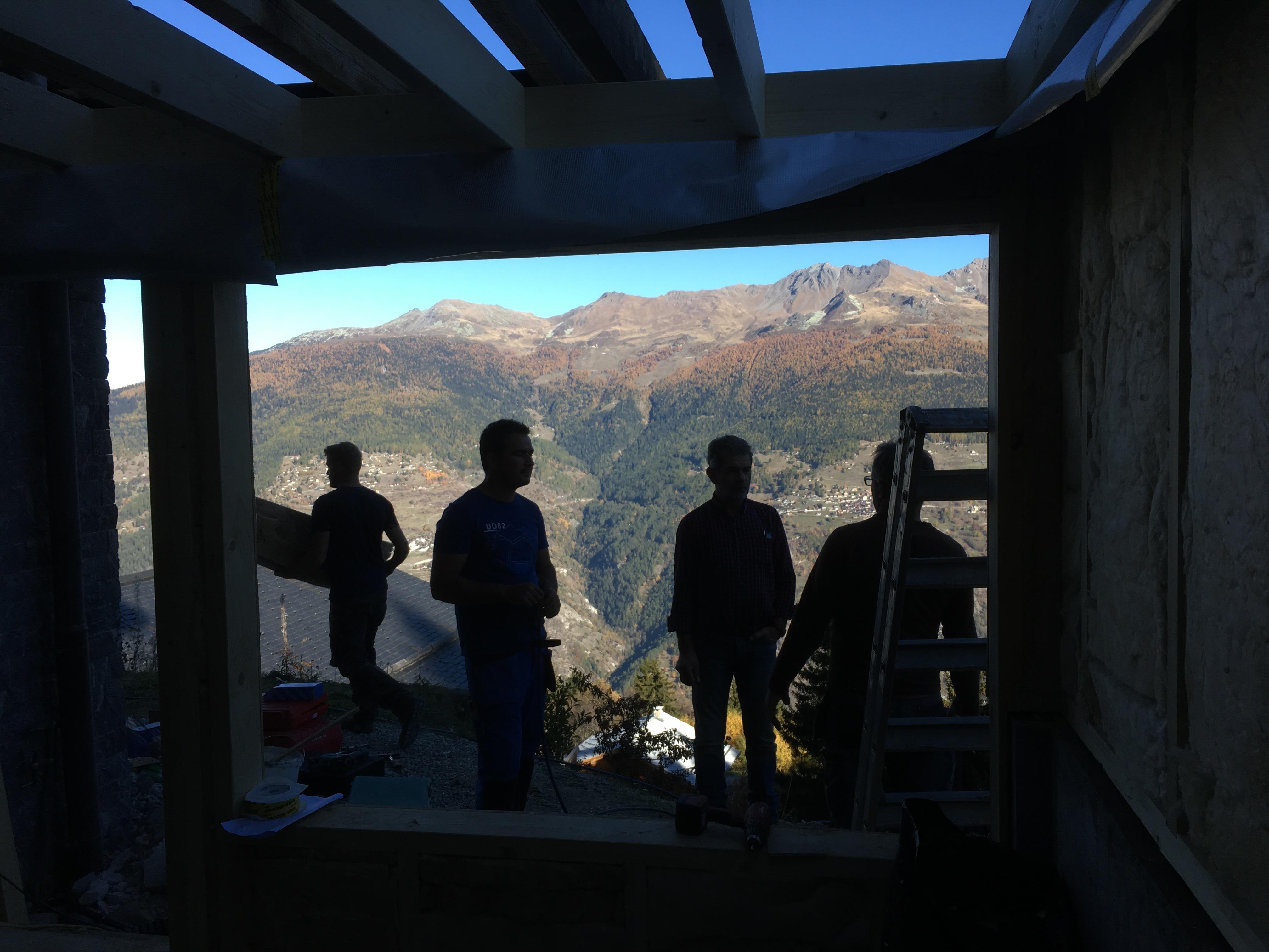 Chalet Le Iceberg sauna construction. view.