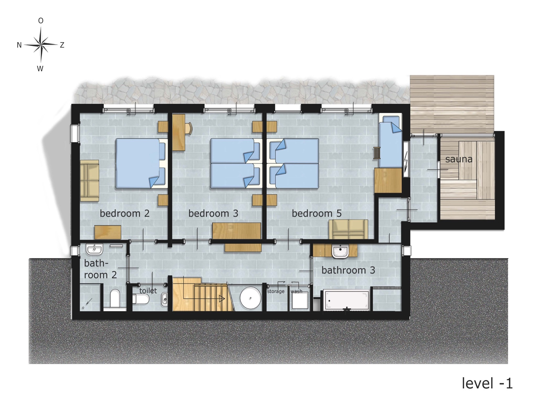 Holiday Home Floor Plan: Level -1 (3 bedrooms, 2 bathrooms, sauns).