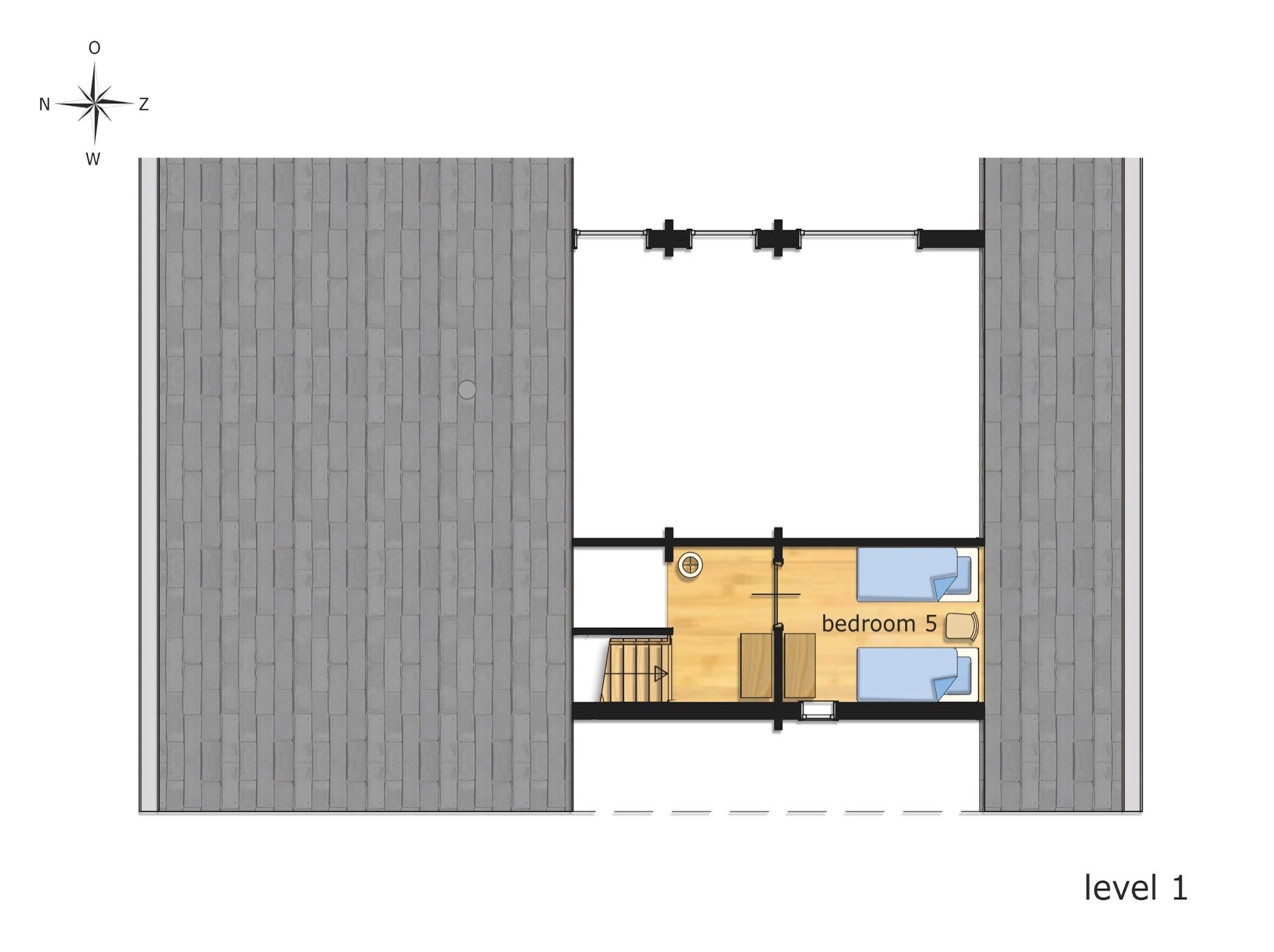 Holiday Home Floor Plan: level +1 (attic bedroom).
