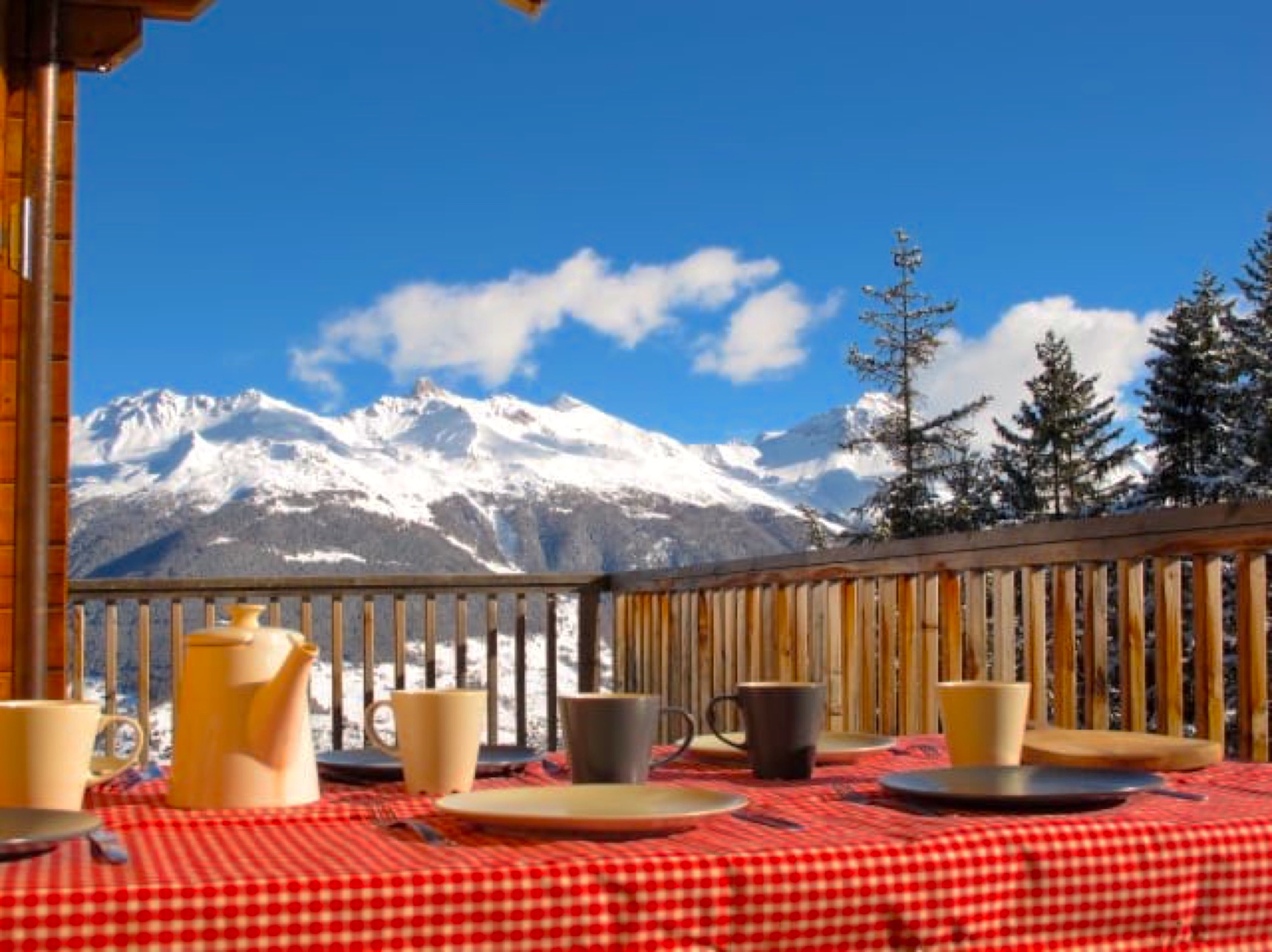 lunch on the balcony in winter