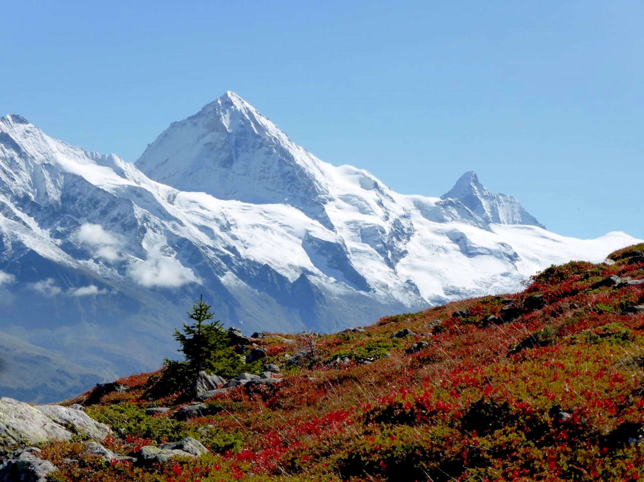 photo of Dents Blanche & Matterhorn from Mandelon in Autumn.