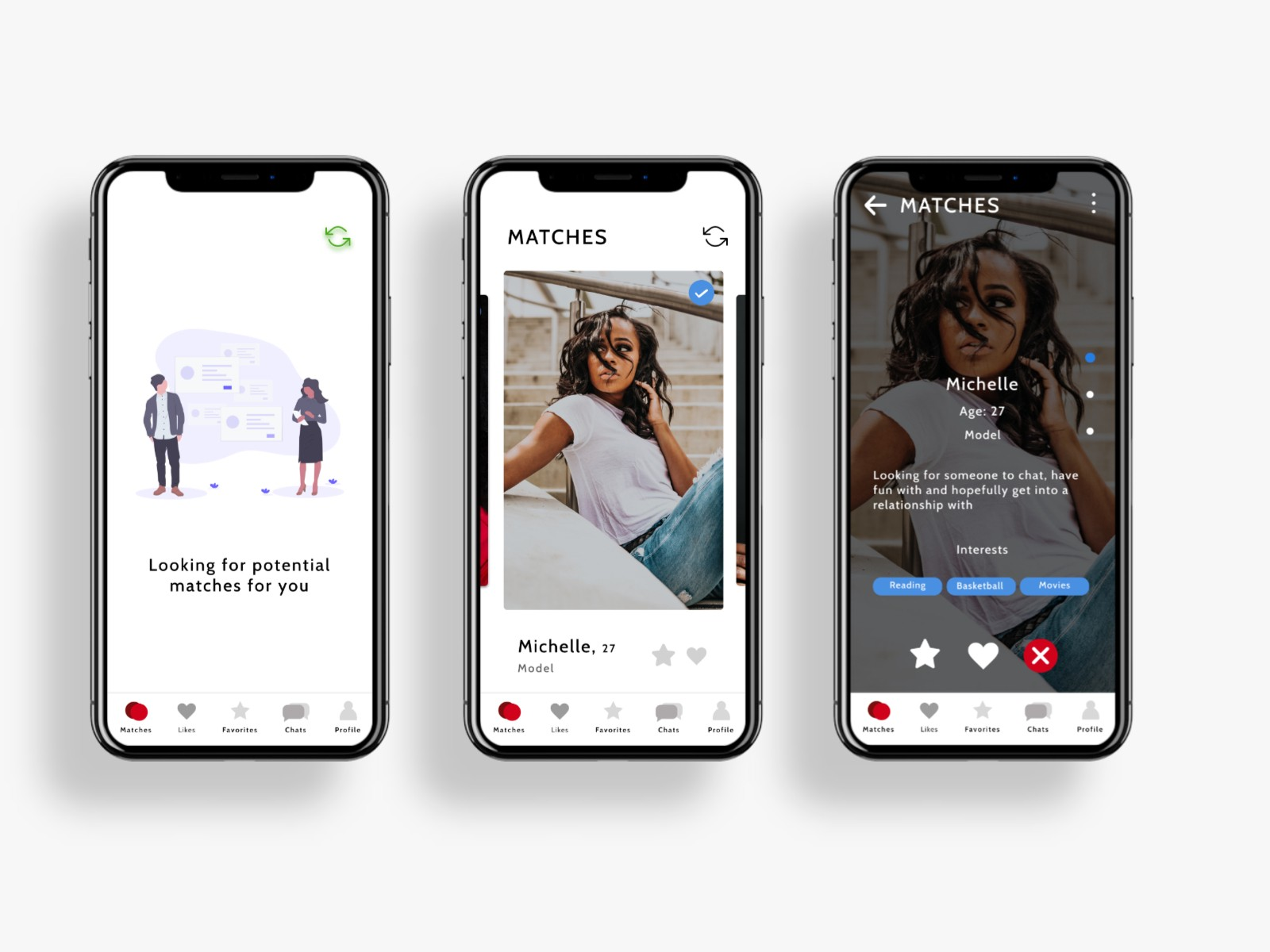 Image of three screens of dating apps