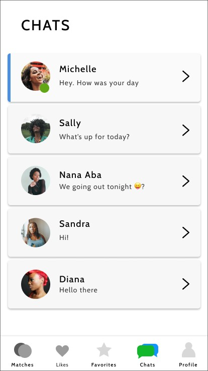 Image of chat section in dating app