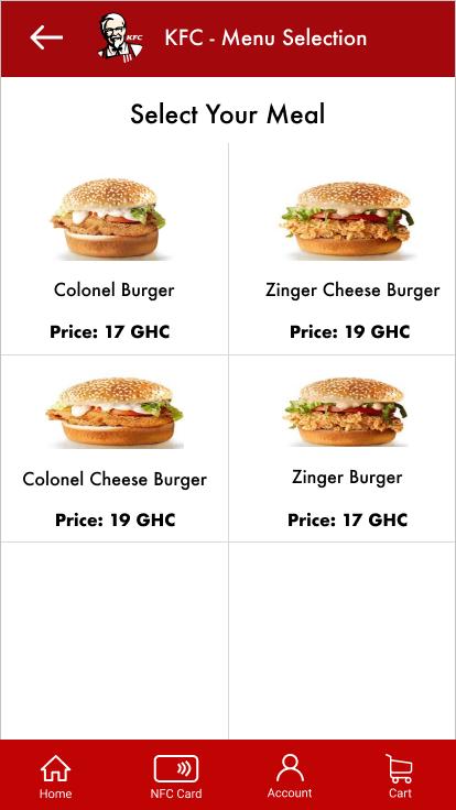 KFC menu item selections