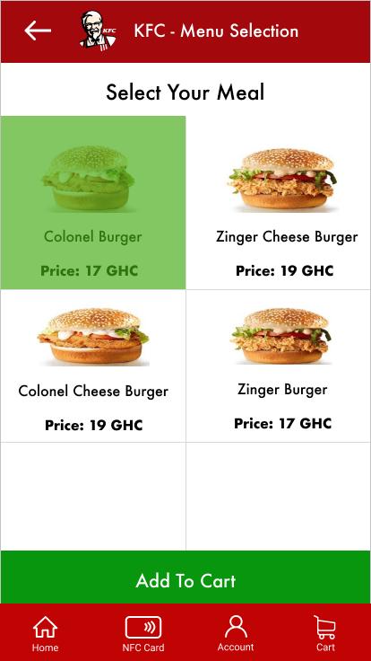 KFC menu item selections with an item selected