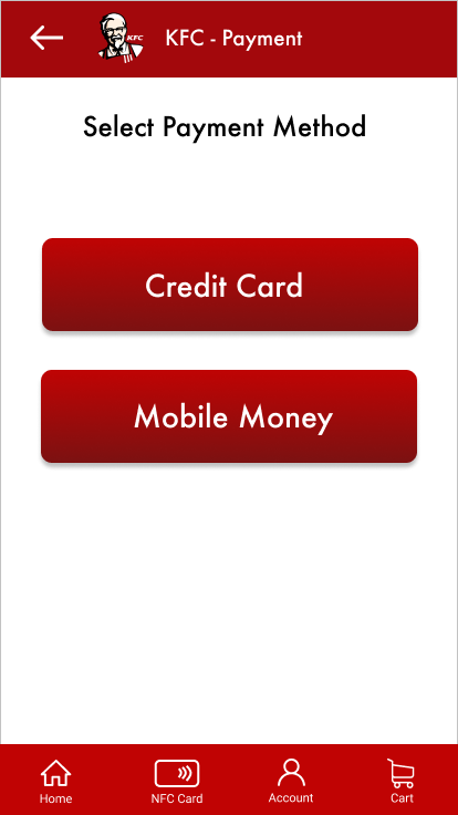 A screen with KFC payment options