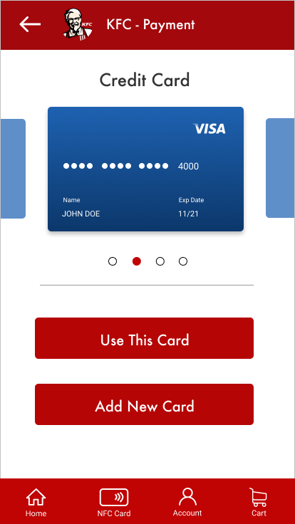 A screen showing credit card payment options