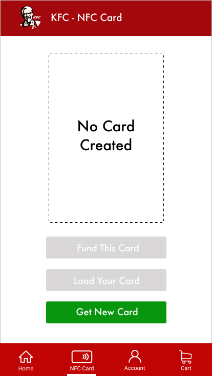 Image of KFC NFC card section on the app