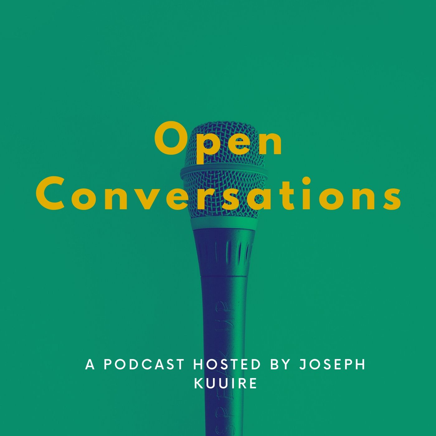 A picture of the open conversations podcast cover with a microphone in the center and a green background