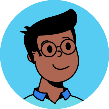 A cartoon picture of black person with glasses