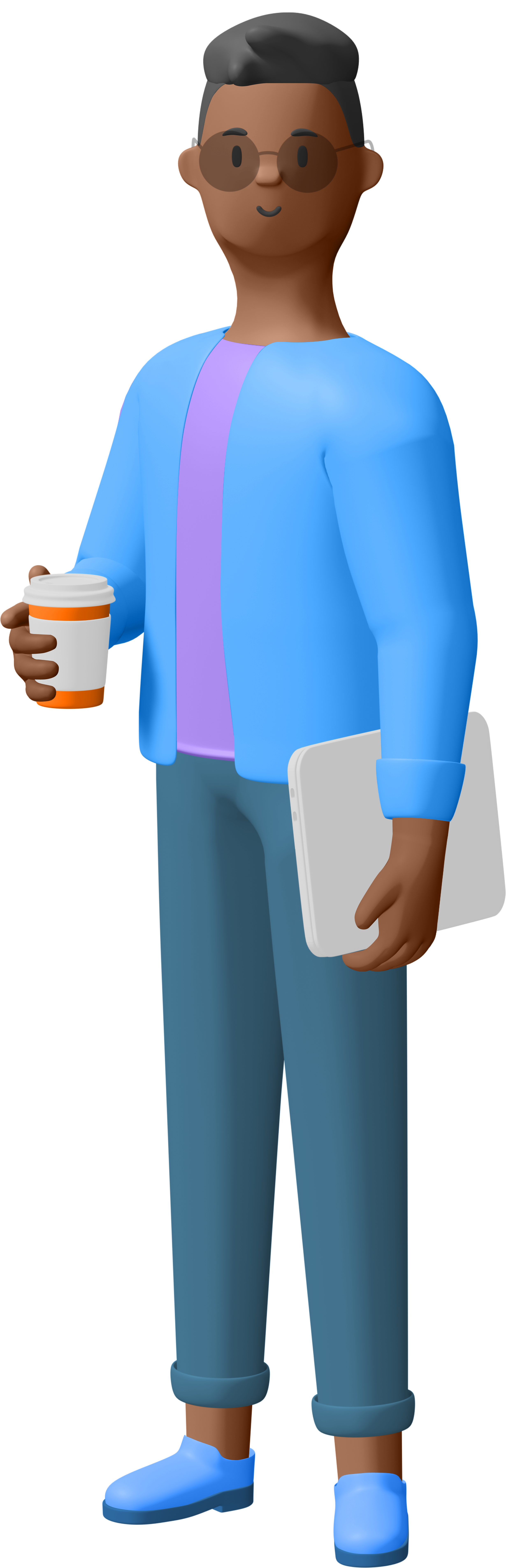 An 3d animated man holding a cup of coffee and a laptop