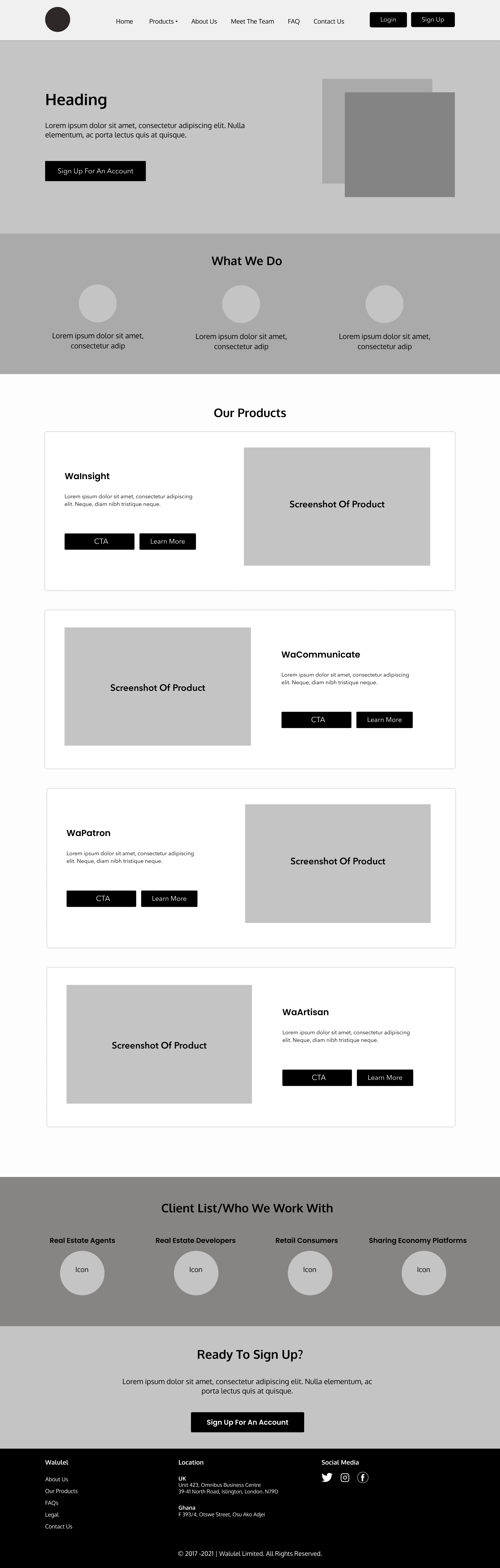 Screenshot of wireframe design of new Walulel website