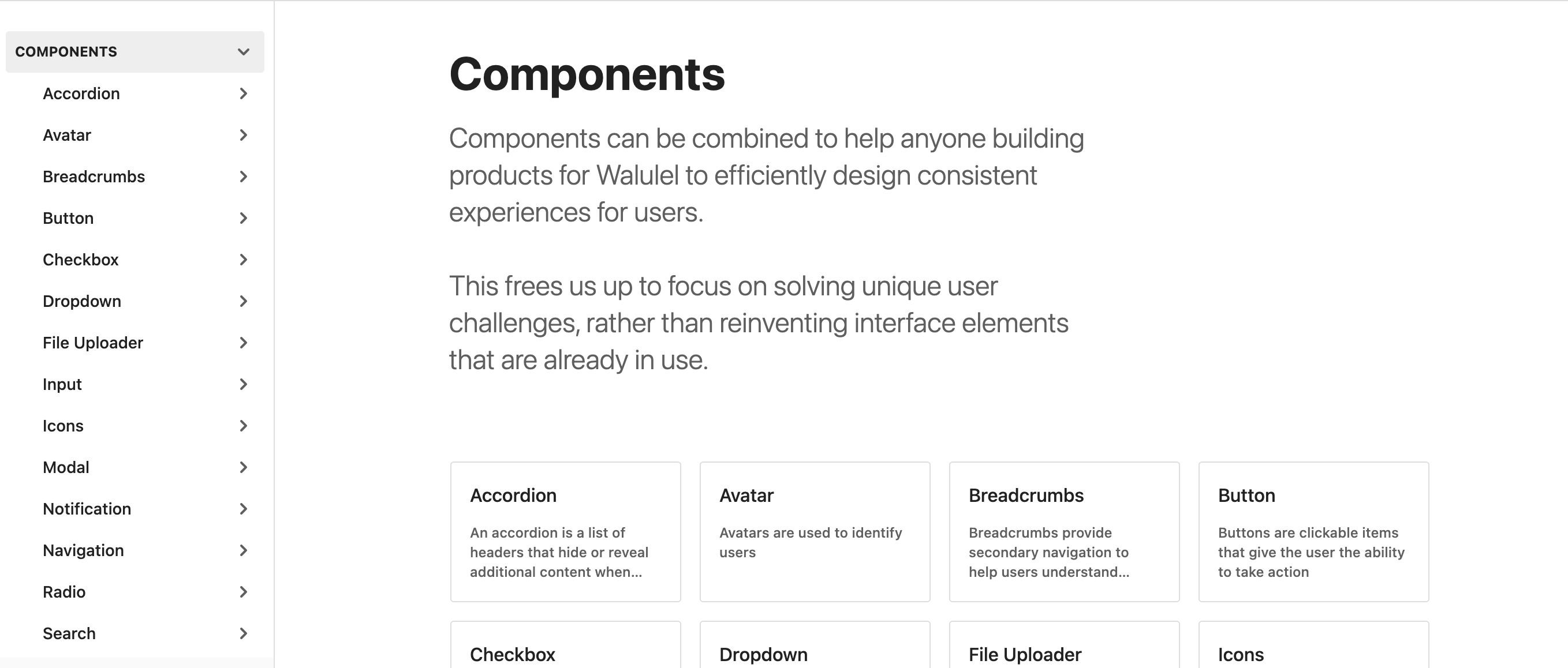 A screenshot of the documentation of the design system
