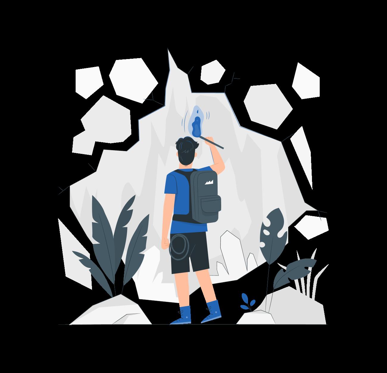 A person exploring a cave