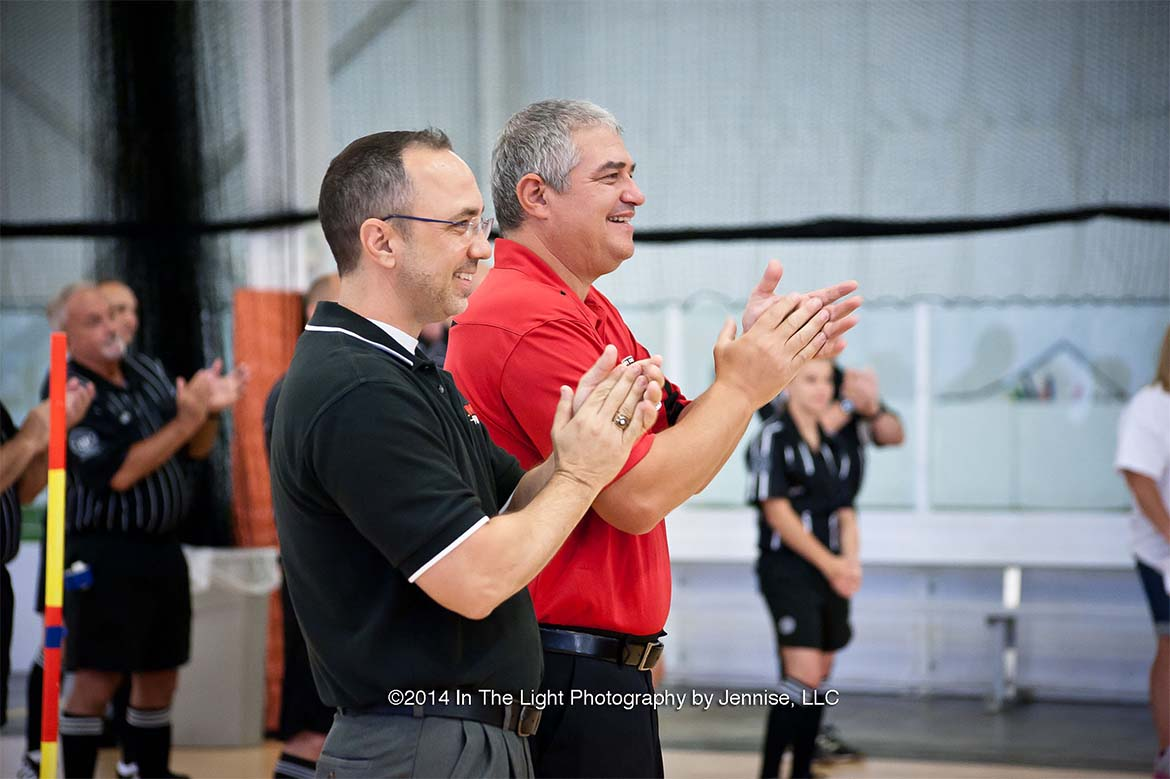 MK Battery Jeff Pitzer and USPSA President Dominic Russo cheering teams on