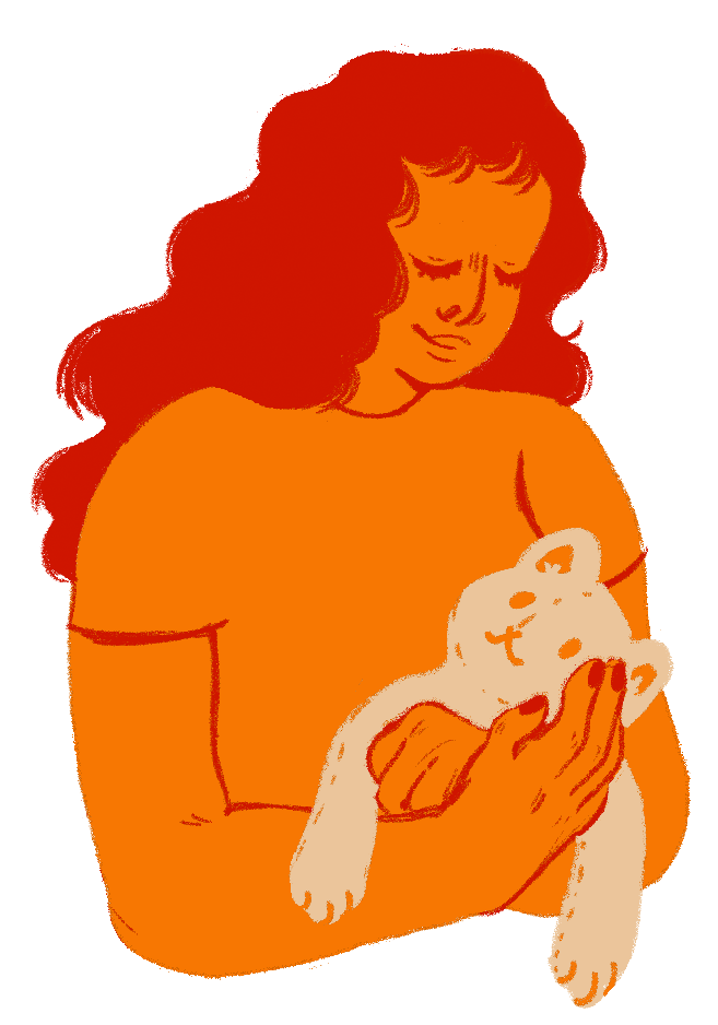 Illustration of a woman holding a stuffed cat.