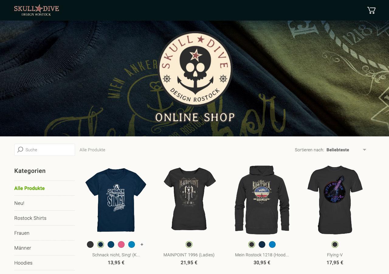 Screenshot von einem Seedshirt-Shop