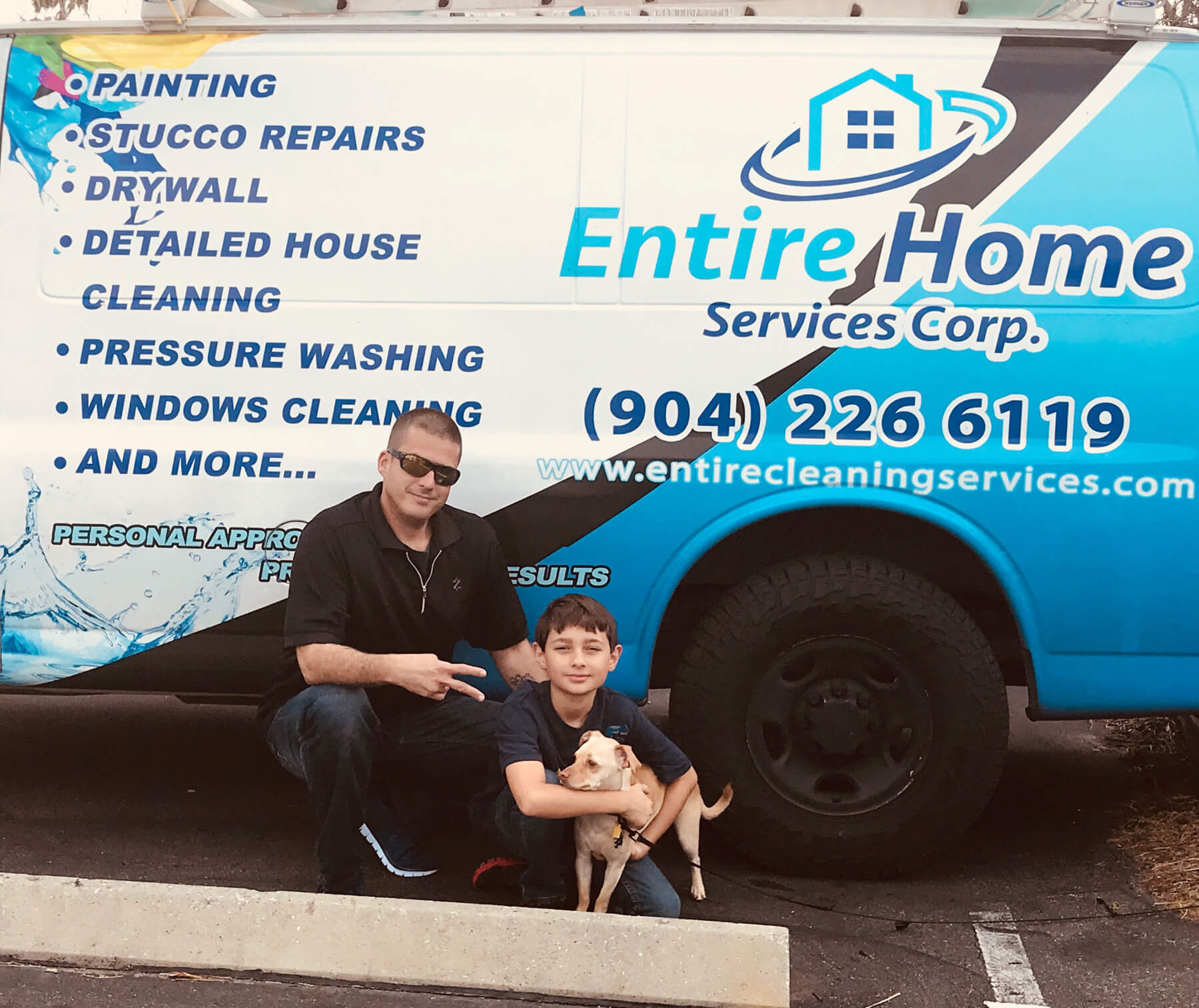 Entire Home Service Truck and Family