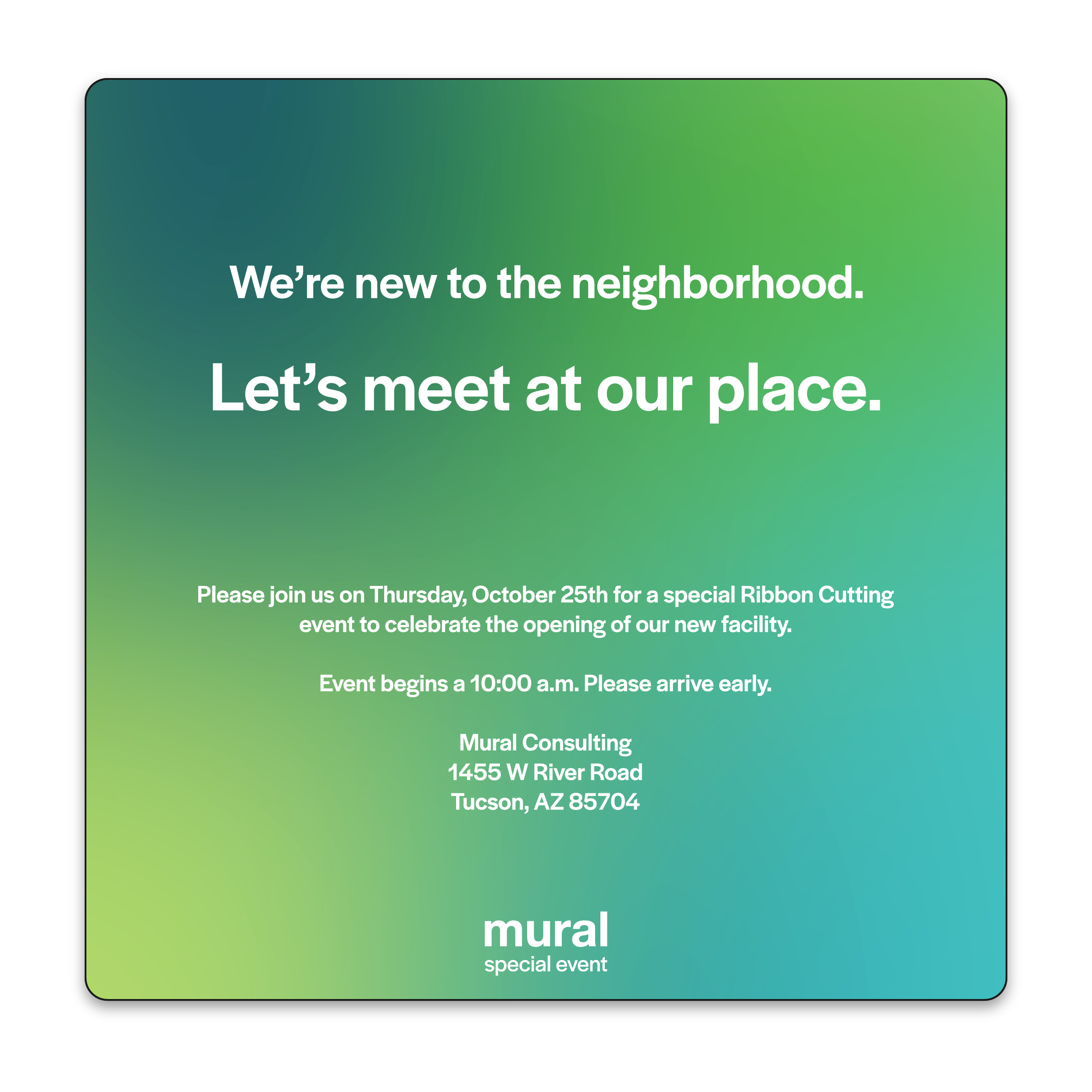 mural special event invitation: let's meet at our place