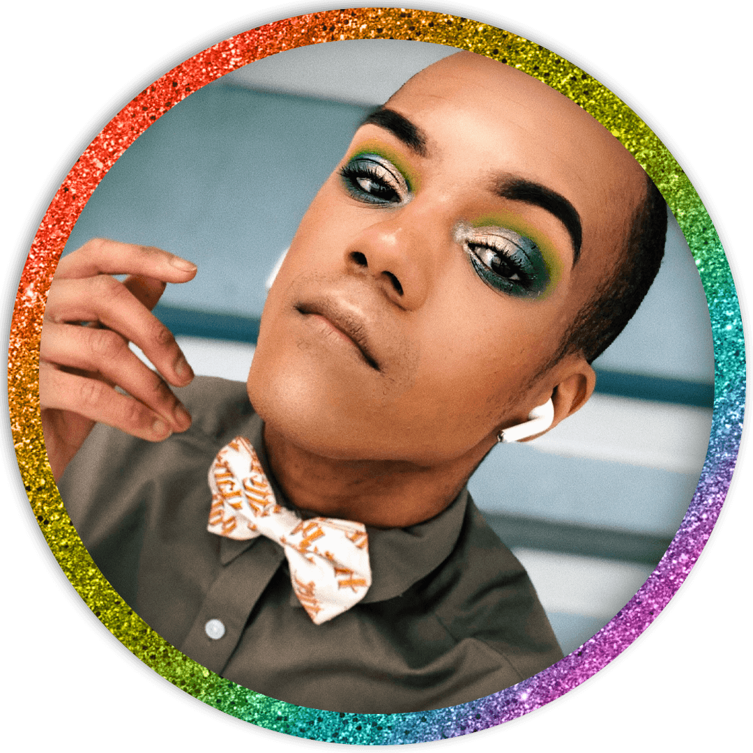 A image of Ty Best in a rainbow bow tie.