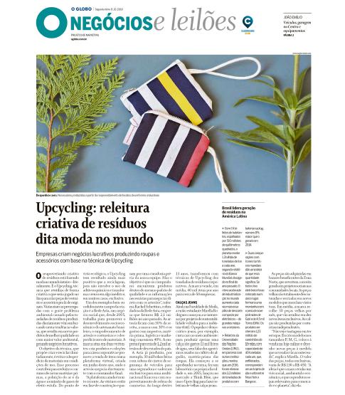 Capa da Negócios e leilões do jornal o Globo com matéria sobre Upcyling, usando a Rede Asta como case de negócio bem sucedido no trabalho com reaproveitamento dos resíduos das empresas