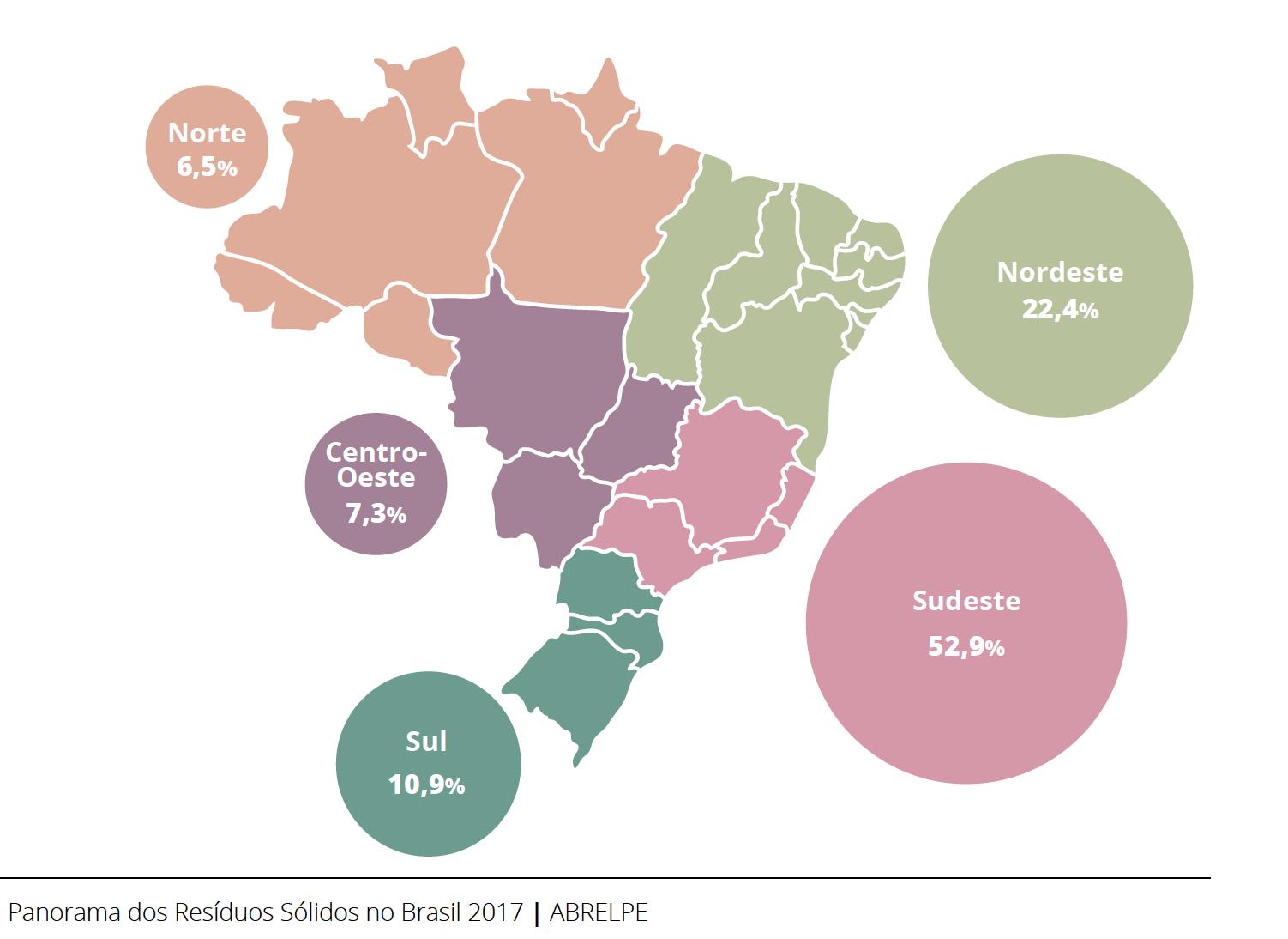 Imagem do mapa do Brasil com panorama de resíduos sólidos | Abrelpe