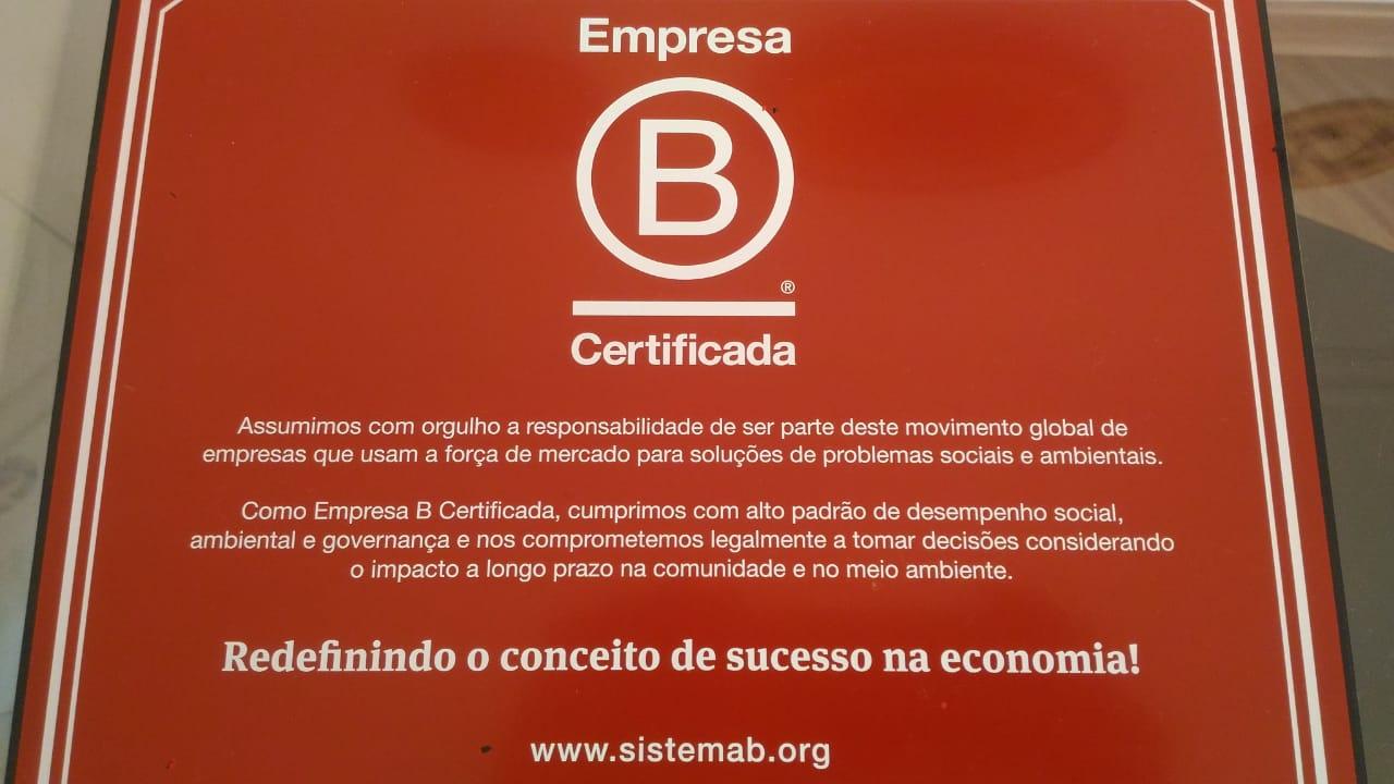 Placa de Empresa B Certifica da Rede Asta
