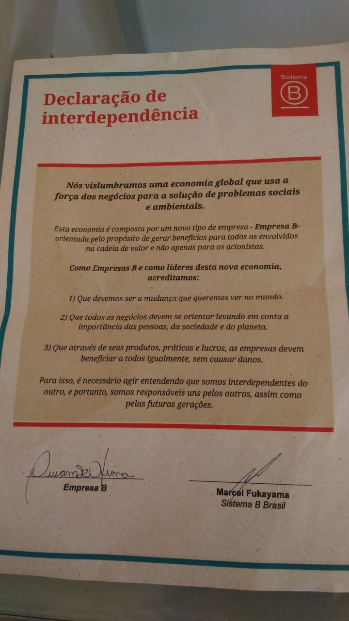 Declaração de interdependência assinada pela Rede Asta junto ao Sistema B