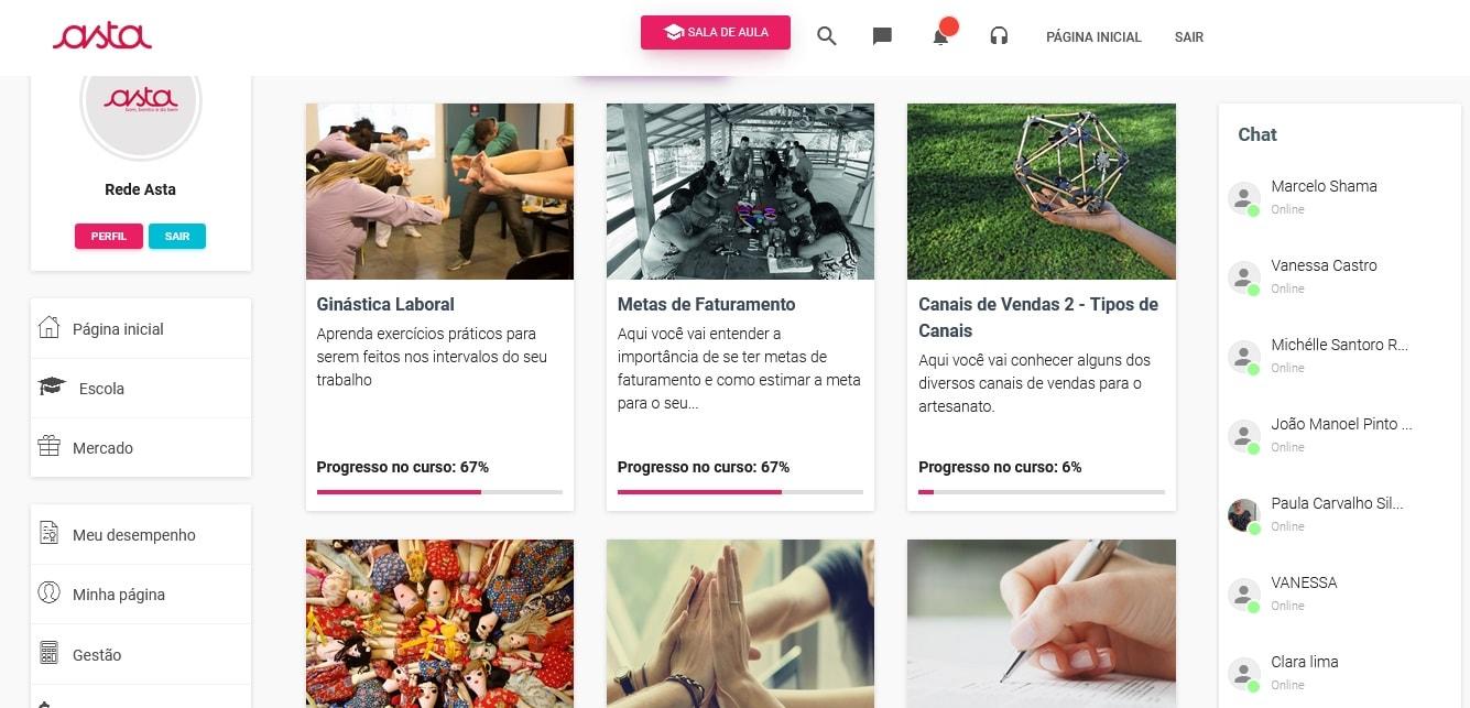 Tela da Escola de Negócio das Artesãs online