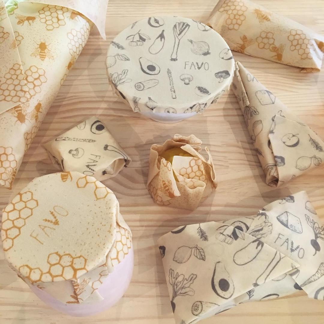Pano com cera de abelha que substotuiu o plástico filme para conservação dos alimentos