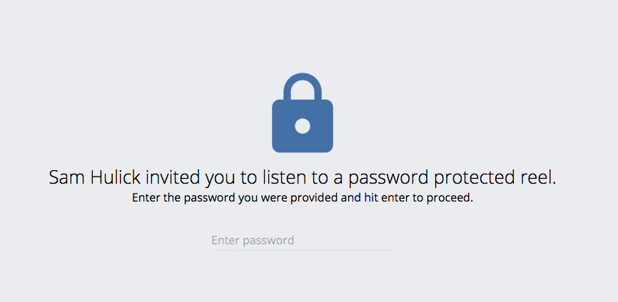 password protected audio demo reel