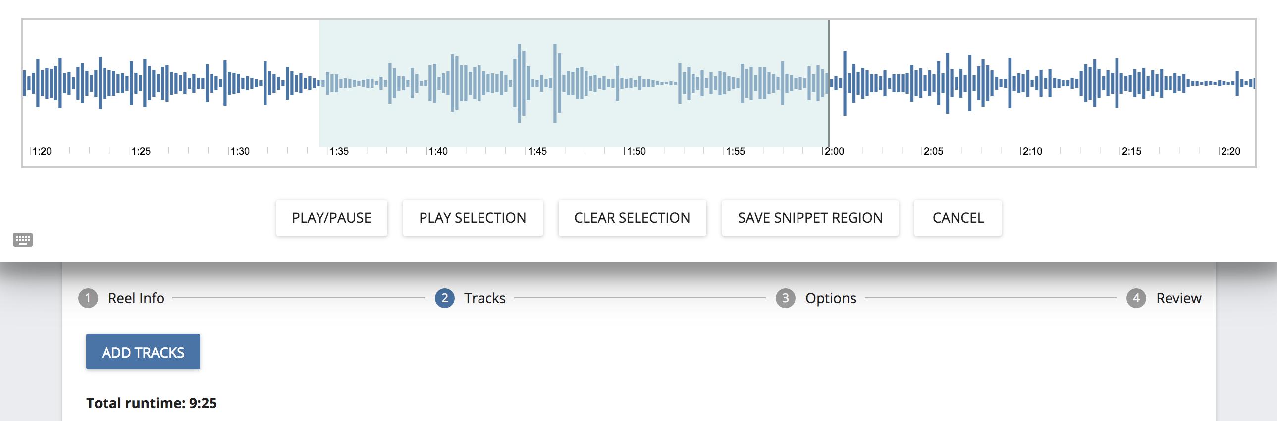 Non-destructive audio snippet editor