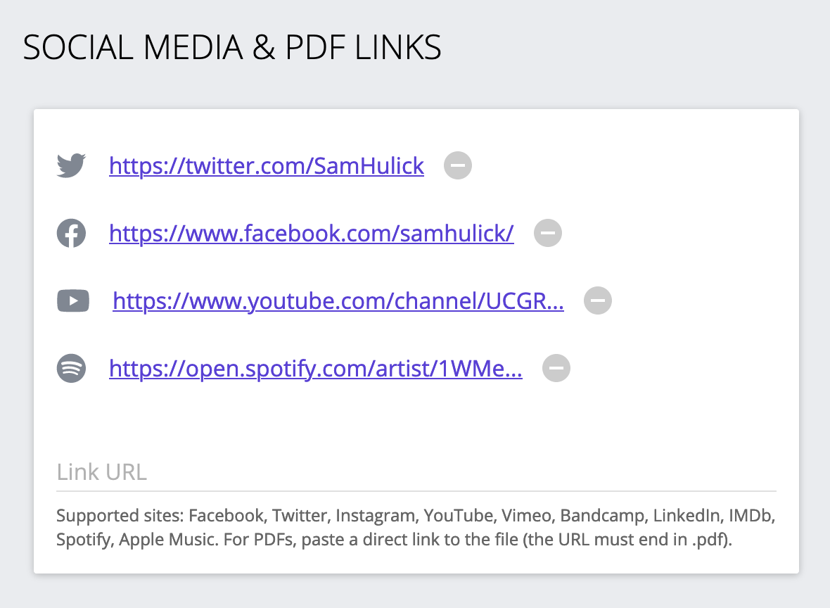Screenshot of social media links