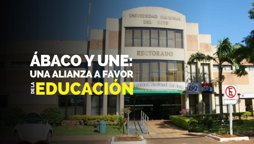 Al fondo la Universidade Nacional del Este. Ábaco y la FCE - UNE: Sistema gratuito para estudiantes