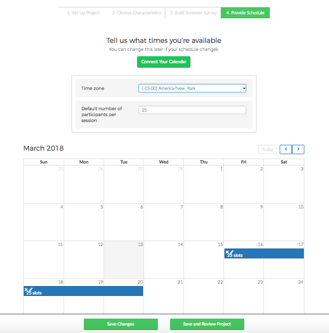 how do i add or remove sessions to from my calendar user interviews