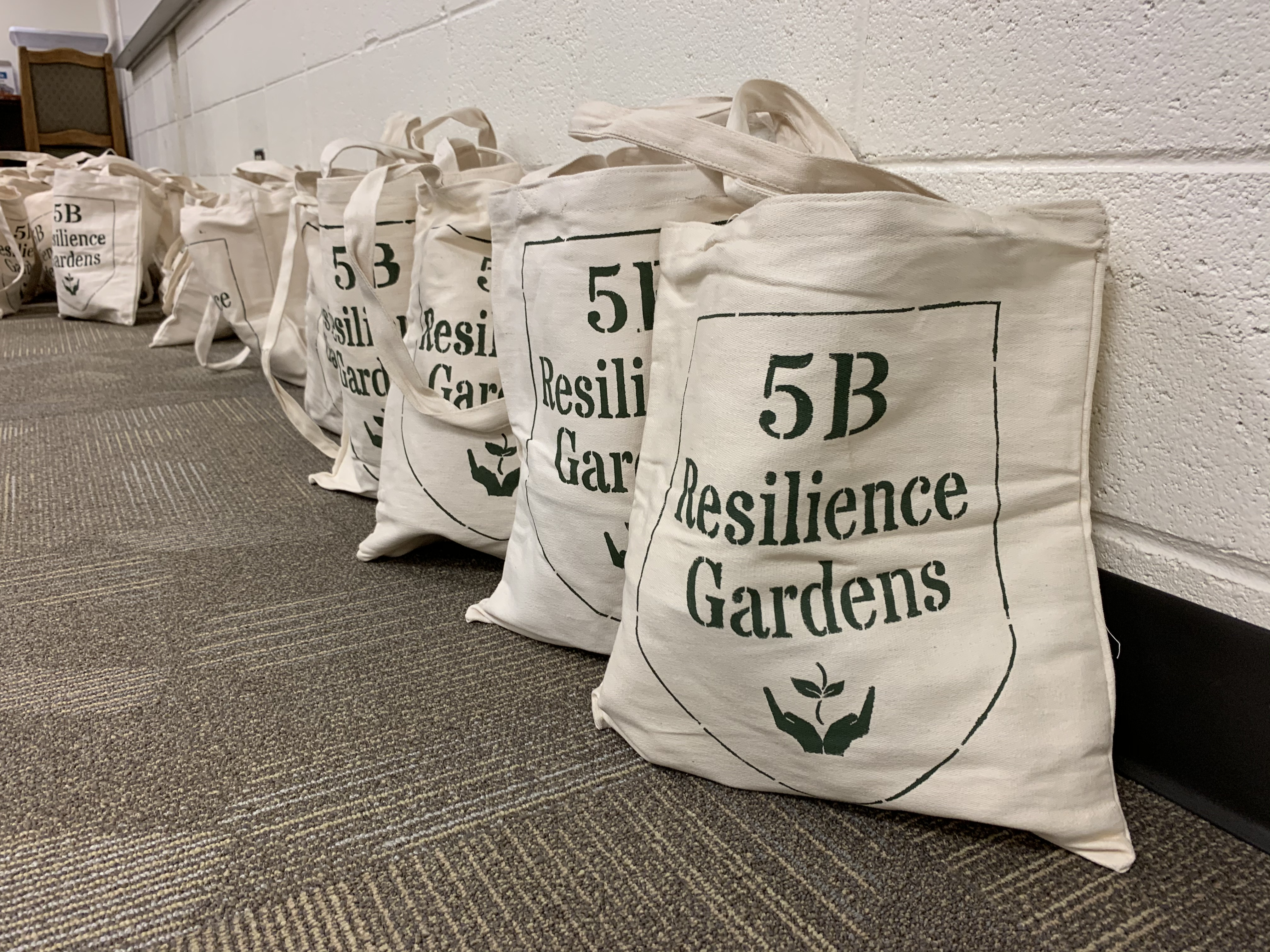 5B Resilience Garden painted canvas tote bags