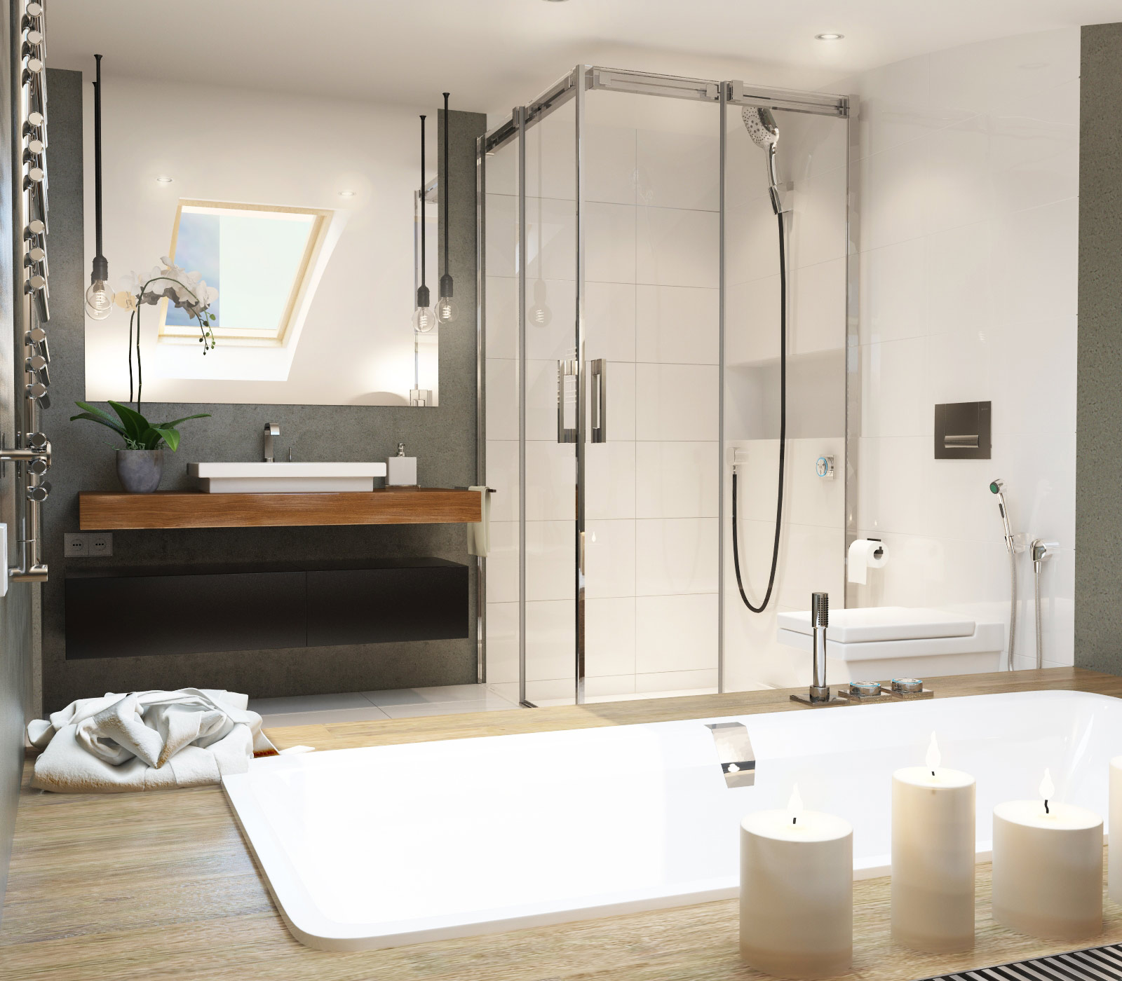 Bathroom with curved ceiling