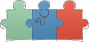 Global Strategies logo, connected puzzle pieces (one with a stethoscope)
