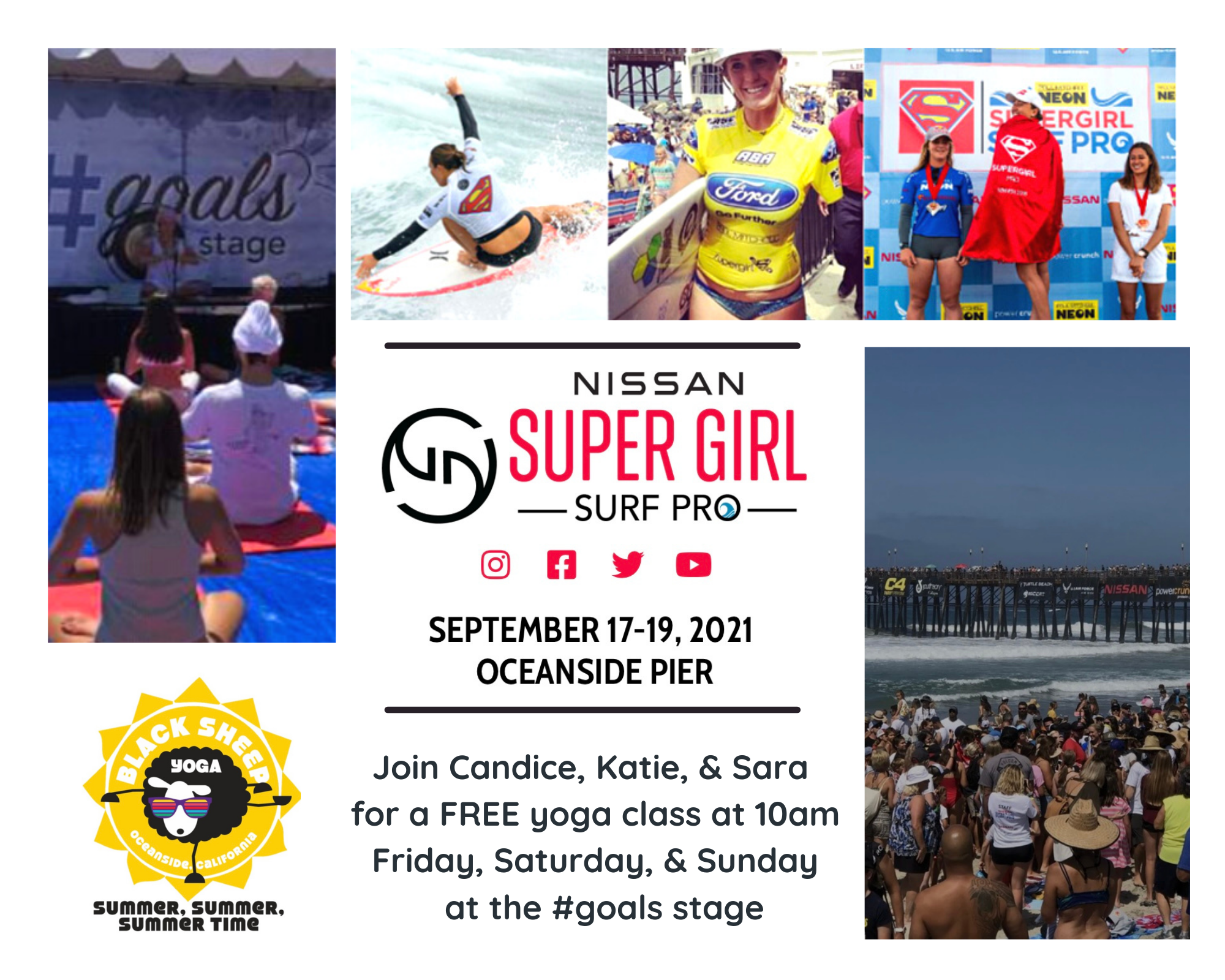 Join Black Sheep Yoga at the Nissan Super Girl Surf Pro for FREE YOGA CLASSES!
