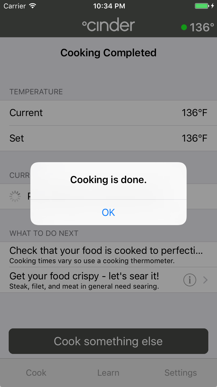 cooking done screen shot